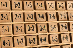 Educational wooden math multiplication table Stock Image