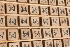 Educational wooden multiplication table Royalty Free Stock Photography