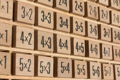 Educational wooden multiplication table Stock Images