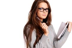Educations. Portrait of the young woman with the daily log in hands Stock Photography