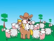 Educative cow and pony sets. Cartoon characters for kids who can learn how to build own picture royalty free illustration