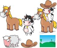Educative cow and pony sets Stock Photos