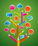 Educative Social media tree. Education Social network tree with pencils as branchs and speech bubbles leaves. Vector illustration layered for easy manipulation Royalty Free Stock Photos