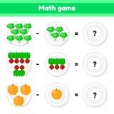 Educativo un juego matemático Tarea de la lógica para los niños substracción Verduras Bróculi, remolachas, calabaza stock de ilustración