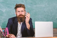 Educator finished explanation, asking is all clear. Who ready to answer question. School teacher prepare ask questions. Teacher bearded hipster with eyeglasses stock images