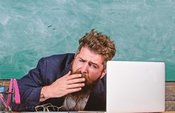 Educators more stressed at work than average people. Life of teacher full of stress. High level fatigue. Exhausting work. In school causes fatigue. Educator royalty free stock photo