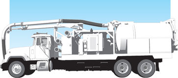 Eductor Truck Side View. Vector Illustration of a side view of an eductor truck Royalty Free Stock Photo