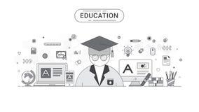 Edukaci ewidencyjny graficzny pojęcie Ucznia i edukaci ikon płaski kreskowy styl tworzył Zdjęcia Royalty Free