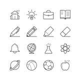 Edukaci i szkoły ikony - Wektorowa ilustracja, Kreskowe ikony ustawiać Zdjęcie Royalty Free