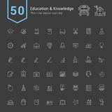 Edukaci i wiedzy ikony set 50 Cienkich Kreskowych Wektorowych ikon ilustracja wektor