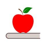Edukaci ikona, wektor książka z jabłkiem Obraz Stock