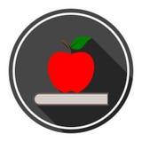 Edukaci ikona, wektor książka z jabłkiem Zdjęcie Stock