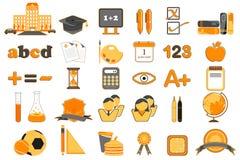 edukaci ikony set Fotografia Stock