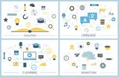 Edukaci ilustraci set Pomysł wiedza i uczenie ilustracja wektor