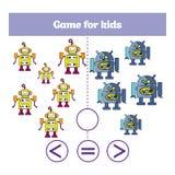 Edukaci logiki gra dla preschool dzieciaków Wybiera poprawną odpowiedź Więcej, less lub równa Wektorowa ilustracja, Tematów robot ilustracji