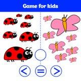 Edukaci logiki gra dla preschool dzieciaków Wybiera poprawną odpowiedź Więcej, less lub równa Wektorowa ilustracja, Zwierzę obraz Fotografia Royalty Free
