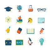 Edukaci mieszkania ikony ilustracja wektor