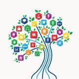 Edukaci nauczania online technologii pojęcia drzewo z ikonami ustawiać Obrazy Stock