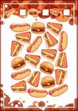 Edukaci odliczająca gra dla preschool dzieciaków z fastem food Obrazy Royalty Free