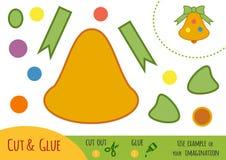 Edukaci papierowa gra dla dzieci, Bożenarodzeniowy dzwon ilustracja wektor