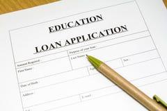 Edukaci pożyczkowy zastosowanie. Obrazy Stock
