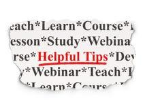 Edukaci pojęcie: Pomocniczo porady na Papierowym tle Fotografia Stock