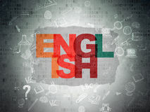 Edukaci pojęcie: Angielszczyzny na Digital papierze Obrazy Royalty Free
