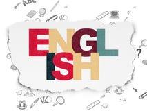 Edukaci pojęcie: Angielszczyzny na Poszarpanym papierze Zdjęcie Royalty Free