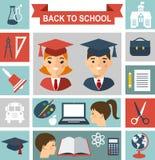 Edukaci pojęcie z uczniami i edukacj ikonami Zdjęcia Royalty Free