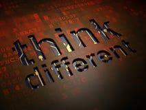 Edukaci pojęcie: Myśl Różna na cyfrowym parawanowym tle Zdjęcie Stock