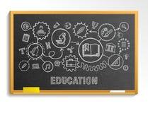 Edukaci ręki remis integrował ikony ustawiać na szkolnym blackboard ilustracja wektor