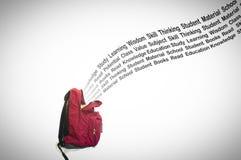 Edukaci typografii przybycie z Szkolnej torby na Białym tle Zdjęcie Royalty Free