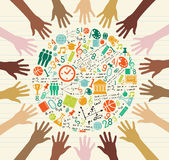 Edukacj ikon istoty ludzkiej globalne ręki.