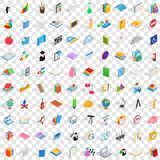 100 edukacj ikon ustawiających, isometric 3d styl Obrazy Stock