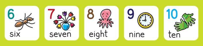 Edukacj karty dla uczyć się liczyć 1, 10 od ilustracji