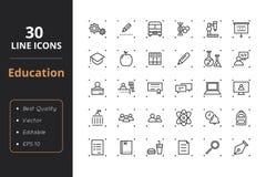 30 edukacj Kreskowych ikon Zdjęcie Royalty Free
