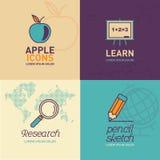 Edukacj Płaskie ikony/jabłczana ikona, whiteboard ikona, badawcza ikona i ołówek ikona, ilustracja wektor