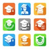 Edukacj płaskie ikony ustawiać ilustracji