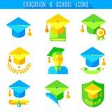 Edukacj płaskie ikony ustawiać ilustracja wektor