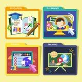 Edukacj pojęć ikony ustawiać w płaskim projekcie ilustracji
