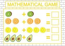 Edukacja dla dzieciaków Matematycznie zadanie liczy, dodatek również zwrócić corel ilustracji wektora ilustracja wektor