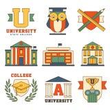 Edukacja i Uniwersytecki Ustawiający ikony Wektorowe Zdjęcie Royalty Free