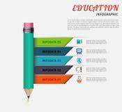 Edukacja infographic szablon z ołówkiem i faborkami Projektuje biznesowego pojęcie dla prezentaci, wykres, diagram Zdjęcia Royalty Free