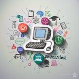 Edukacja kolaż z ikony tłem Fotografia Stock