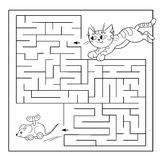 Edukacja labirynt lub labitynt gra dla Preschool dzieci Łamigłówka Barwić strona kontur kot z zabawkarską myszą Zdjęcia Stock