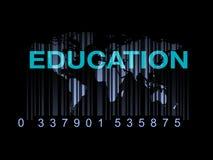 Edukacja na światowej mapie z barcode (ilość edukacja) Zdjęcie Royalty Free