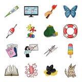 Edukacja, połów, dawność i inna sieci ikona w kreskówce, projektujemy kot, zwierzę, malyusk ikony w ustalonej kolekci ilustracja wektor