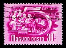 Edukacja robotnicy, planu pięcioletniego seria około 1951, zdjęcie stock