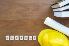 Edukacja sukcesu pojęcie: Mieszkanie Lay Zdjęcie Stock