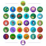Edukacja, tkaniny, muzyka i inna sieci ikona w mieszkaniu, projektujemy medicess, historia, ine ikony w ustalonej kolekci royalty ilustracja